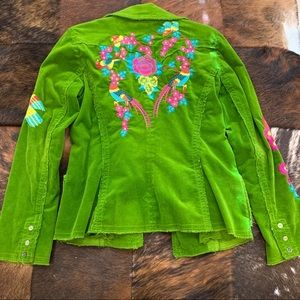 Johnny Was Green Cord Embroidered Blazer